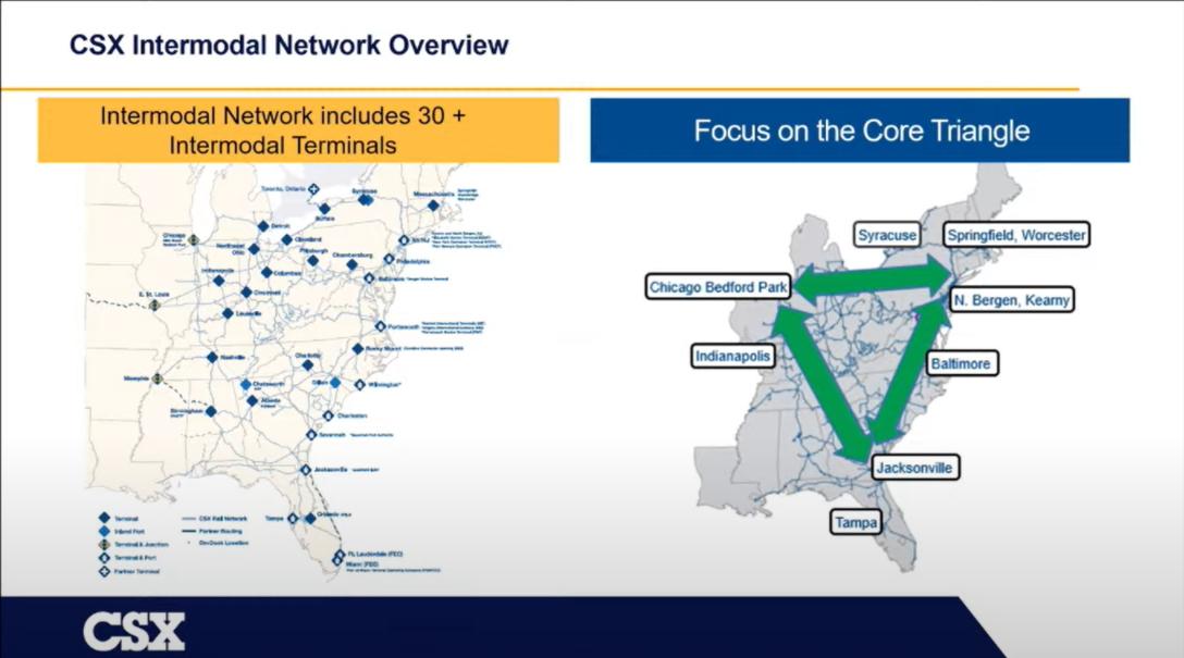 CSX Intermodal Network map